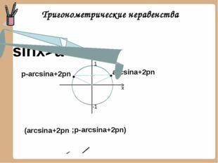 Тригонометрические неравенства arcsina+2pn p-arcsina+2pn sinx>a y 1 -1 x ;p-a