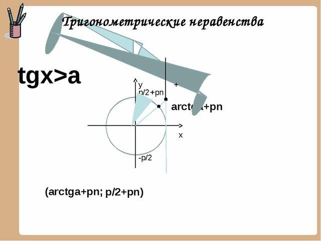 arctga+pn tgx>a y x p/2+pn) (arctga+pn; p/2 -p/2 + +pn Тригонометрические не...