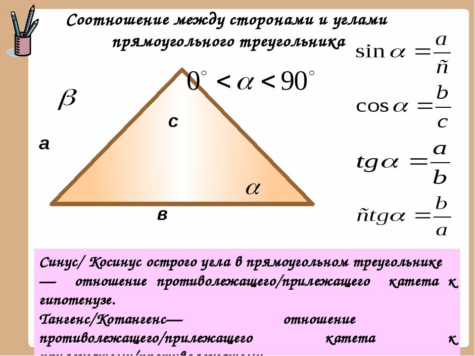 а в с Синус/ Косинус острого угла в прямоугольном треугольнике — отношение п...