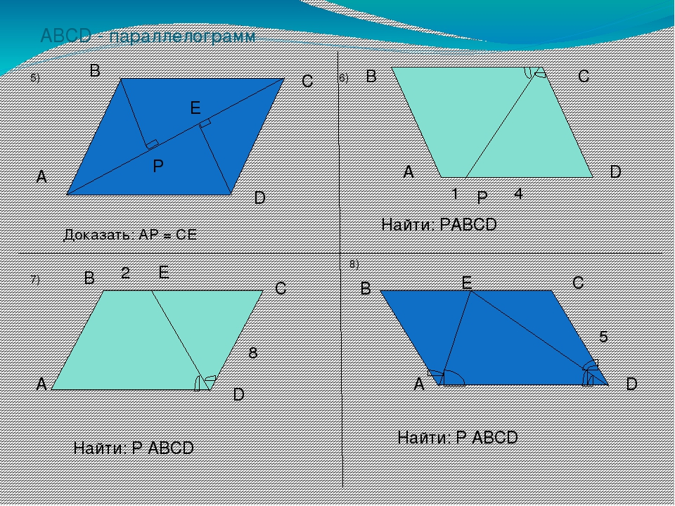 ABCD - параллелограмм Доказать: AP = CE A B C D P E A B C D P 1 4 Найти: PABC...
