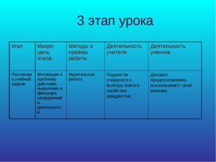 3 этап урока этапМикро-цель этапаМетоды и приёмы работыДеятельность учител