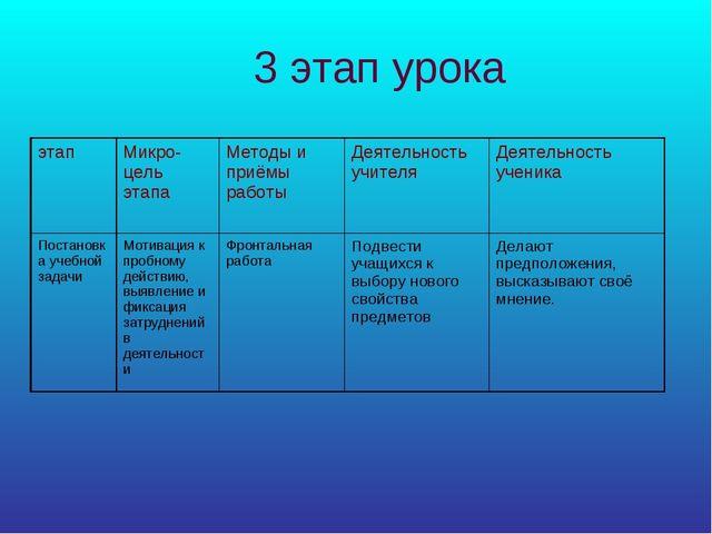 3 этап урока этапМикро-цель этапаМетоды и приёмы работыДеятельность учител...