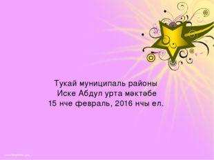 Тукай муниципаль районы Иске Абдул урта мәктәбе 15 нче февраль, 2016 нчы ел.