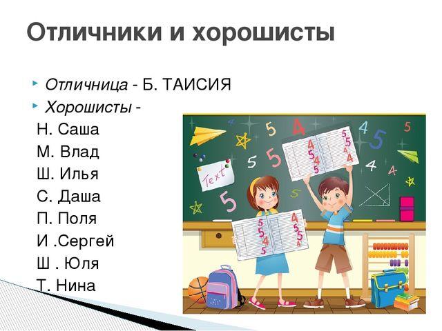 Отличница - Б. ТАИСИЯ Хорошисты - Н. Саша М. Влад Ш. Илья С. Даша П. Поля И ....