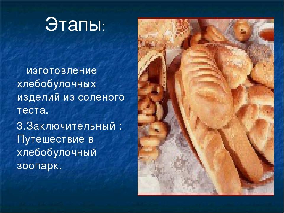 изготовление хлебобулочных изделий из соленого теста. 3.Заключительный : Пут...