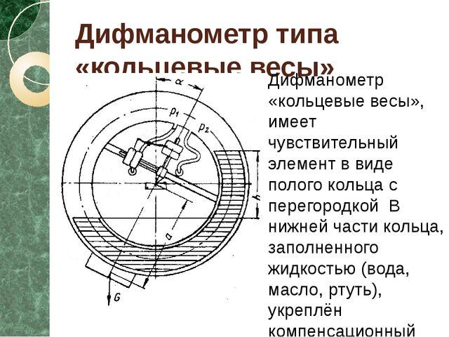 Дифманометр типа «кольцевые весы» Дифманометр «кольцевые весы», имеет чувстви...