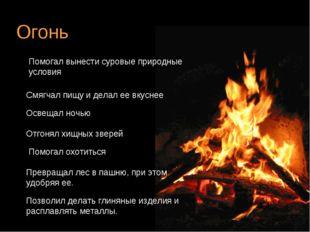 Огонь Помогал вынести суровые природные условия Смягчал пищу и делал ее вкусн