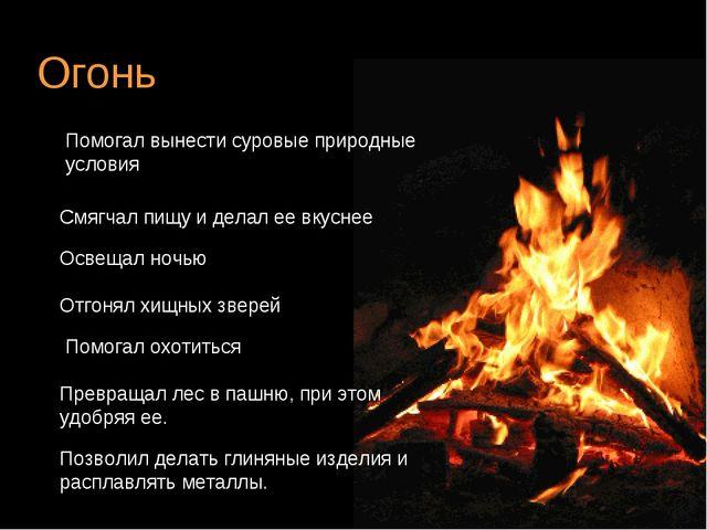 Огонь Помогал вынести суровые природные условия Смягчал пищу и делал ее вкусн...