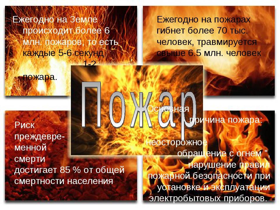 Ежегодно на Земле происходит более 6 млн. пожаров, то есть каждые 5-6 секунд...