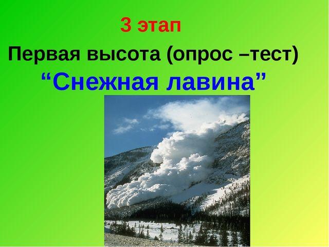 """3 этап Первая высота (опрос –тест) """"Снежная лавина"""""""