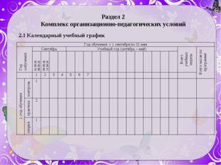 Раздел 2 Комплекс организационно-педагогических условий 2.1 Календарный учебн