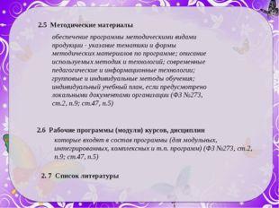 2.5 Методические материалы обеспечение программы методическими видами продукц