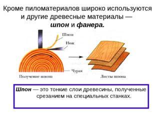 Кроме пиломатериалов широко используются и другие древесные материалы — шпон