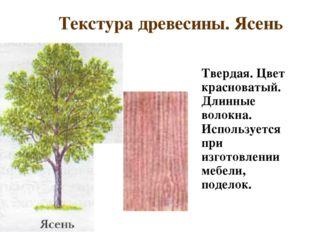Текстура древесины. Ясень Твердая. Цвет красноватый. Длинные волокна. Исполь
