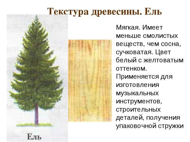 Текстура древесины. Ель Мягкая. Имеет меньше смолистых веществ, чем сосна, с...