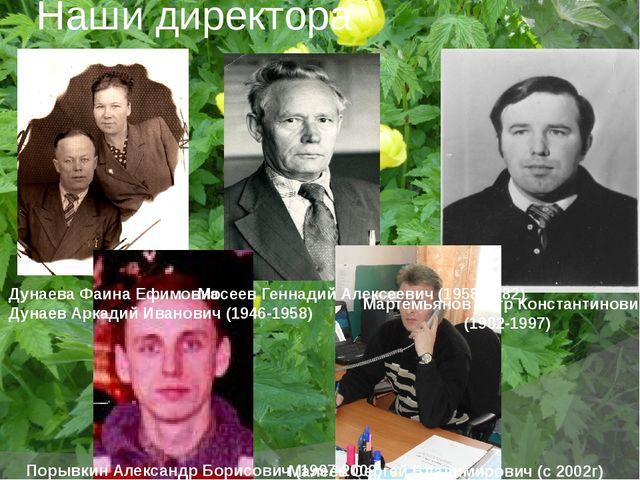 Наши директора Дунаева Фаина Ефимовна Дунаев Аркадий Иванович (1946-1958) Мос...