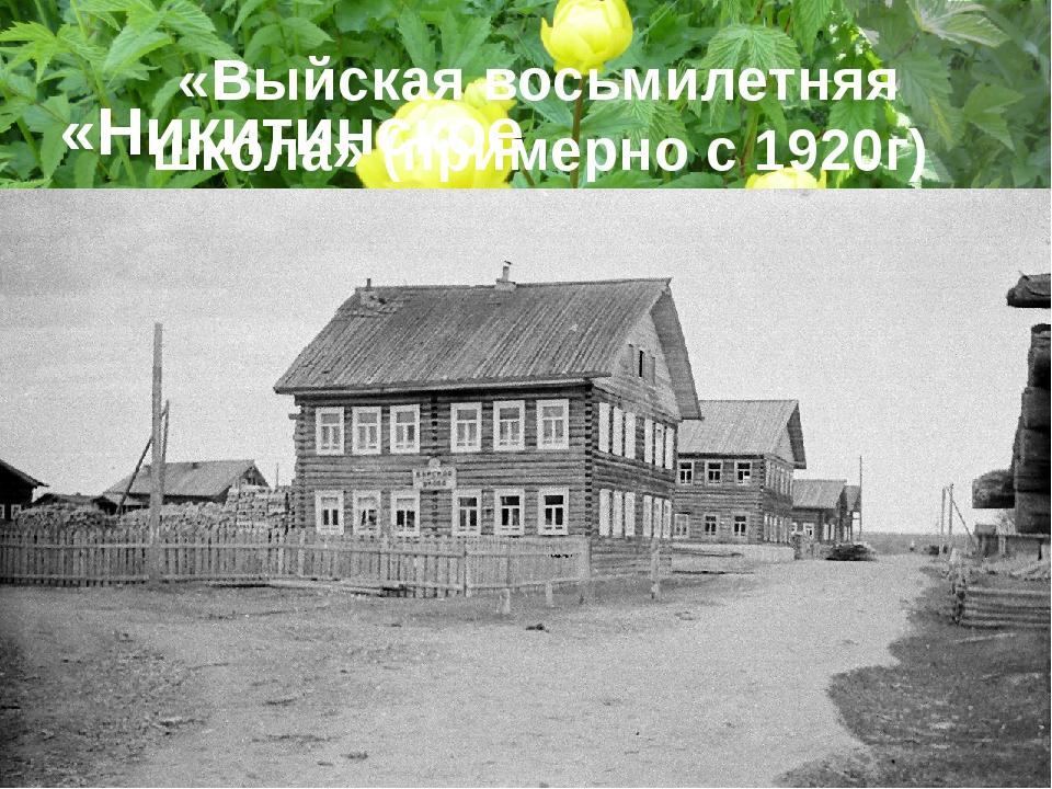 «Никитинское двухклассное сельское училище» 1861г «Выйская восьмилетняя школа...