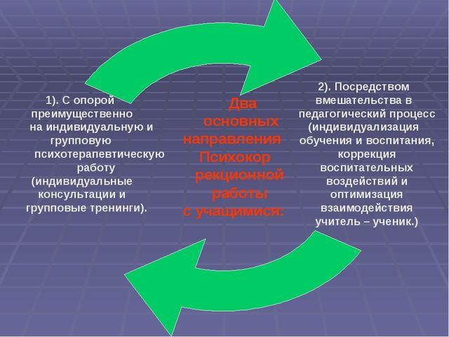 Два основных направления Психокор рекционной работы с учащимися: