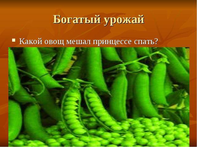 Богатый урожай Какой овощ мешал принцессе спать?