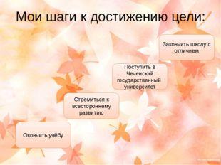 Мои шаги к достижению цели: Закончить школу с отличием Поступить в Чеченский