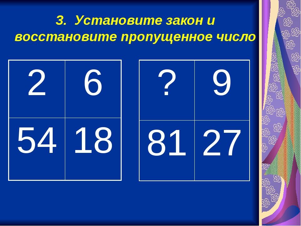 3. Установите закон и восстановите пропущенное число