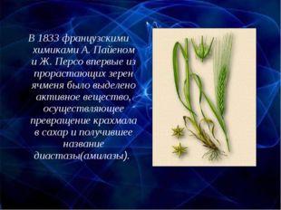 В 1833 французскими химиками А. Пайеном и Ж. Персо впервые из прорастающих зе