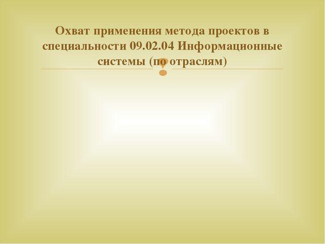 Охват применения метода проектов в специальности 09.02.04 Информационные сист...