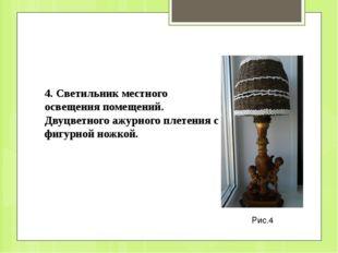 Рис.4 4. Светильник местного освещения помещений. Двуцветного ажурного плетен