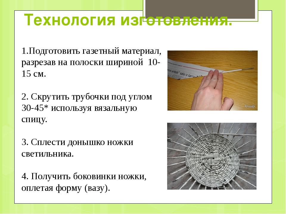 Технология изготовления. 1.Подготовить газетный материал, разрезав на полоски...