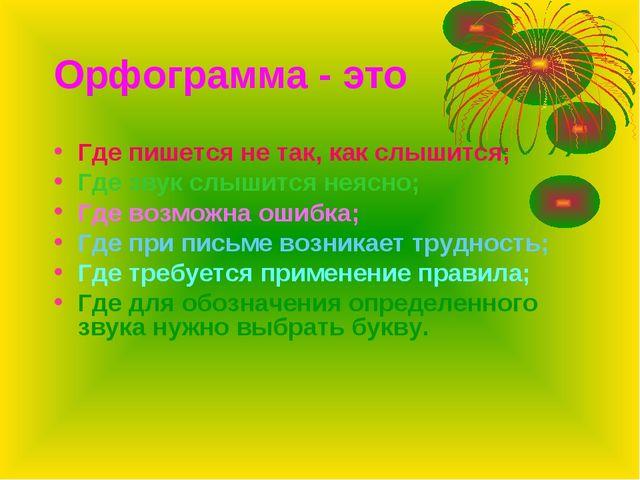 Орфограмма - это Где пишется не так, как слышится; Где звук слышится неясно;...