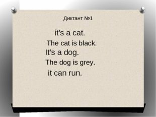 Диктант №1 it's a cat. The cat is black. It's a dog. The dog is grey. it can