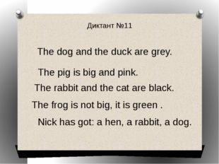 Диктант №11 The dog and the duck are grey. The pig is big and pink. The rabbi