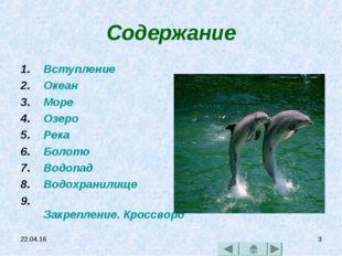 * * Содержание Вступление Океан Море Озеро Река Болото Водопад Водохранилище