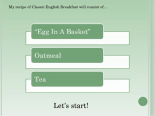 My recipe of Classic English Breakfast will consist of… Let's start!