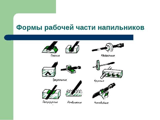 Формы рабочей части напильников