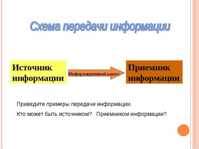Источник информации Приемник информации Информационный канал Приведите пример...