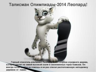 Талисман Олимпиады-2014 Леопард! Горный спасатель-альпинист Леопард живет в