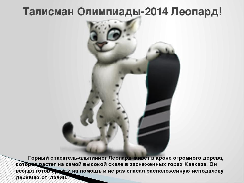 Талисман Олимпиады-2014 Леопард! Горный спасатель-альпинист Леопард живет в...