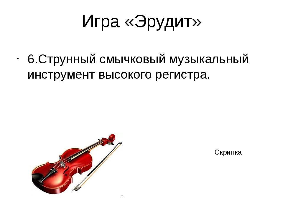 Игра «Эрудит» 6.Струнный смычковый музыкальный инструмент высокого регистра....