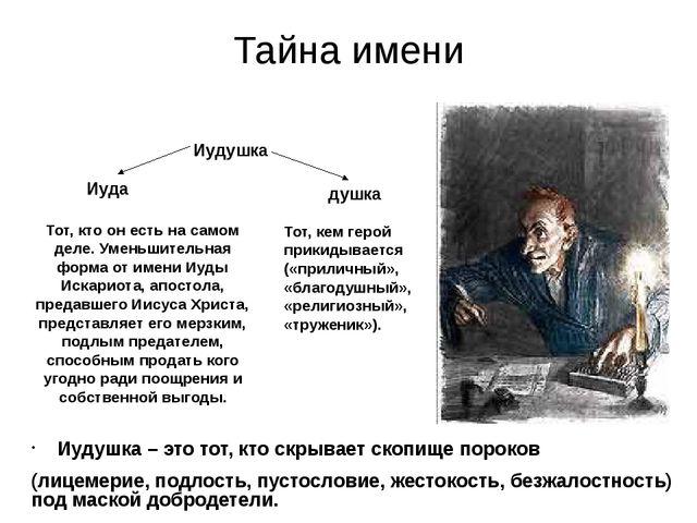 Тайна имени Иудушка – это тот, кто скрывает скопище пороков (лицемерие, подло...