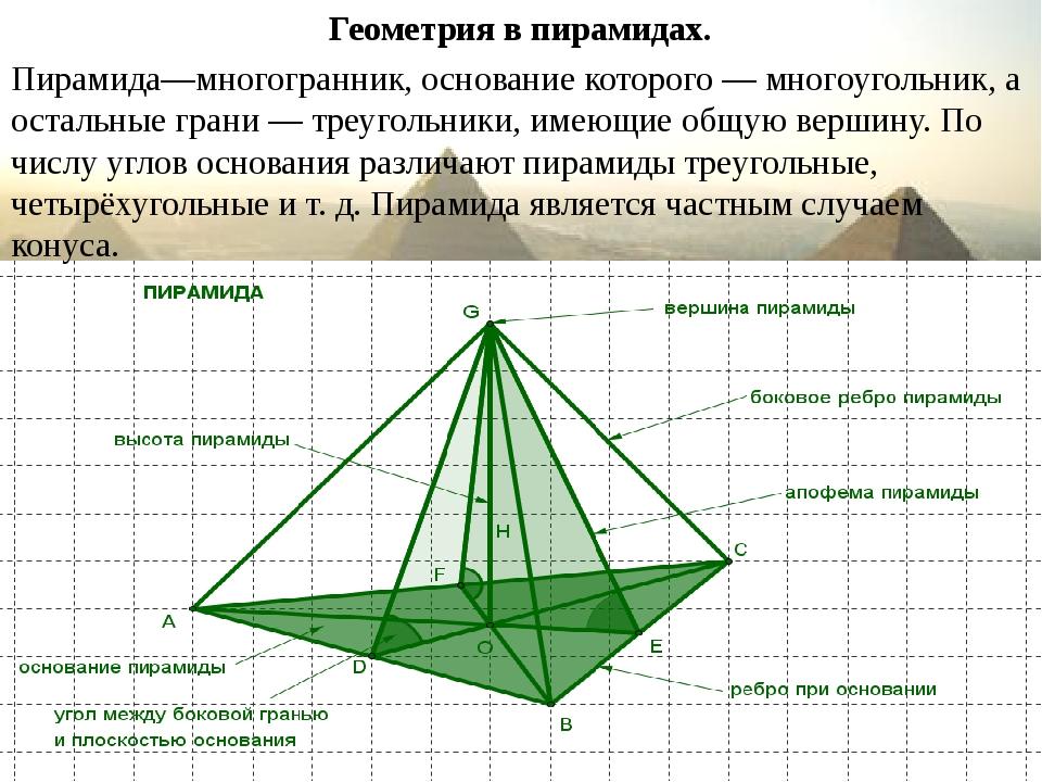Геометрия в пирамидах. Пирамида—многогранник, основание которого — многоуголь...