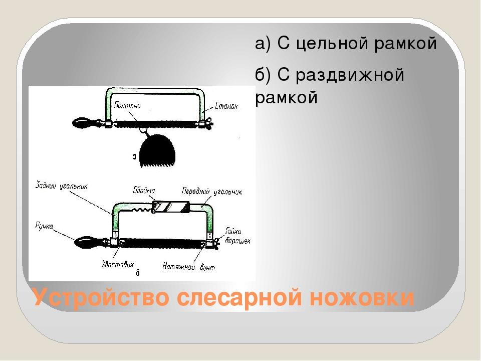 Устройство слесарной ножовки а) С цельной рамкой б) С раздвижной рамкой