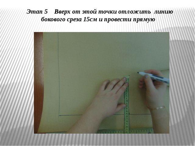 Этап 5 Вверх от этой точки отложить линию бокового среза 15см и провести прямую
