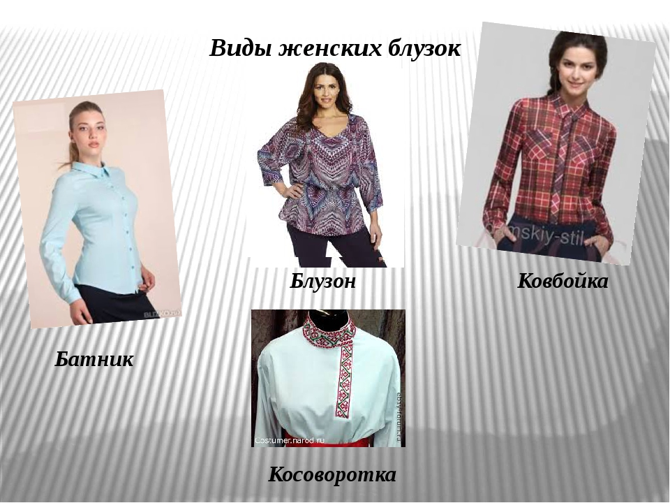 Виды женских блузок Батник Блузон Ковбойка Косоворотка