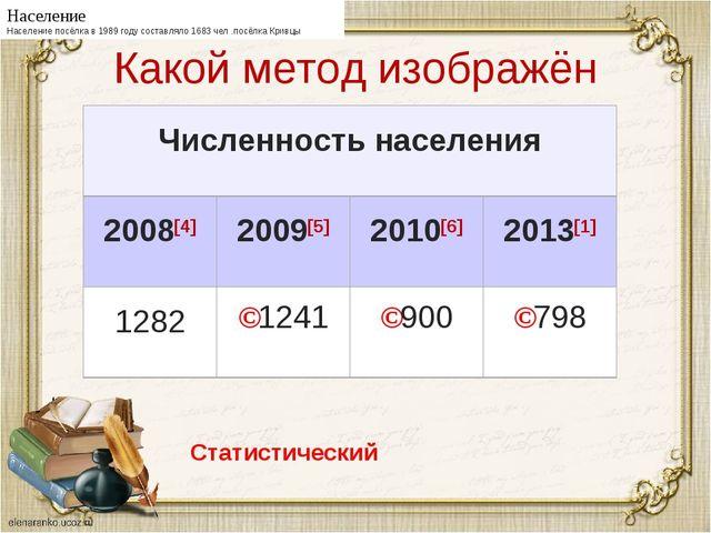 Какой метод изображён Население Население посёлка в 1989 году составляло 1683...
