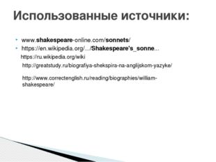 www.shakespeare-online.com/sonnets/ https://en.wikipedia.org/.../Shakespeare'