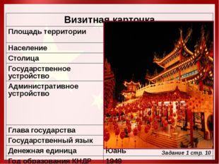 Задание 1 стр. 10 Визитная карточка Площадь территории 9,6 млн. км²,3 место (