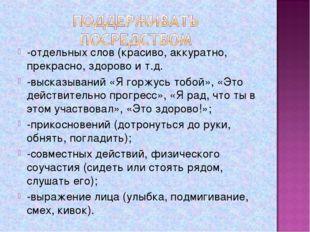 -отдельных слов (красиво, аккуратно, прекрасно, здорово и т.д. -высказываний