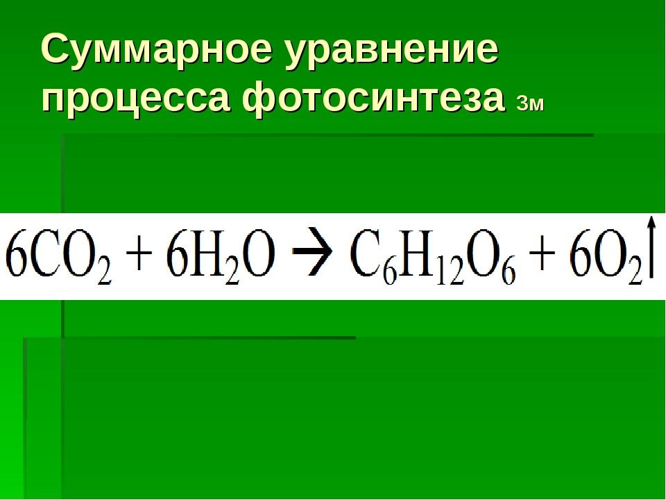 Суммарное уравнение процесса фотосинтеза 3м