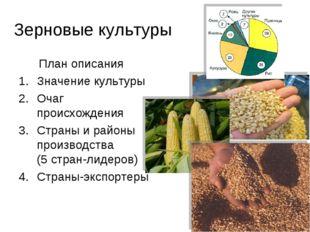 Зерновые культуры План описания Значение культуры Очаг происхождения Страны и